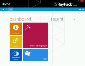 RayPack dashboard