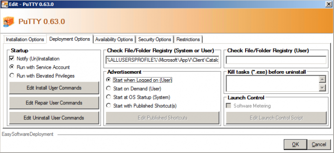 ESD Installation Item Deployment Options