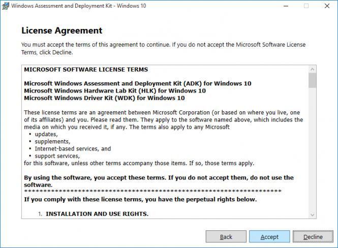 Fikira - Install Windows Assessment and Deployment Kit - Windows 10 - License Agreement