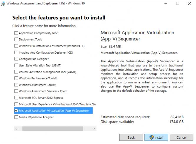 Fikira - Install Windows Assessment and Deployment Kit - Windows 10 - Select Features