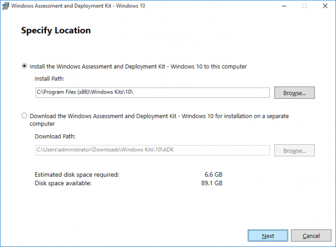 Fikira - Install Windows Assessment and Deployment Kit - Windows 10 - Specify Location