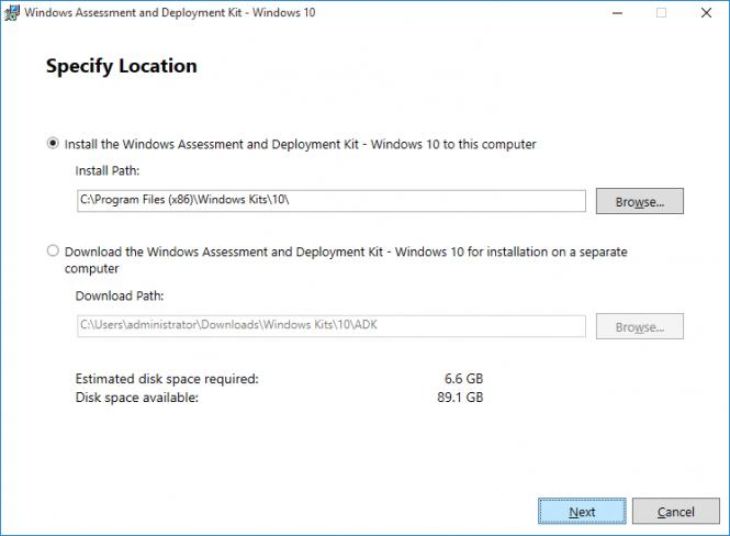 Fikira - Install Windows Assessment and Deployment Kit - Windows 10 - Specify Location
