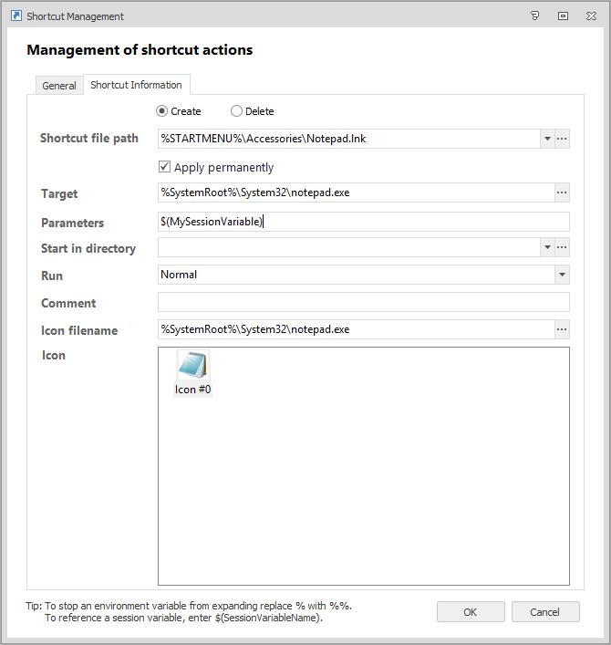 Ivanti Environment Manager Shortcut Management gebruik van SessionVariable